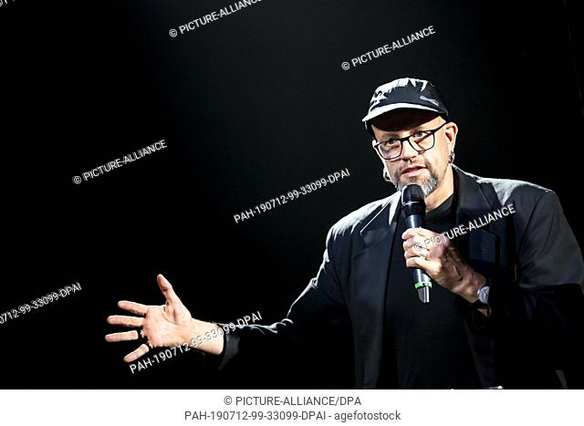 12 July 2019, Berlin: Robert Henke, composer and musician, speaks at a press conference at the opening of his audiovisual installation and live performance...