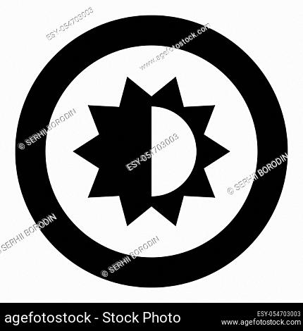 Brightness and contrast setting icon black color in circle vector illustration