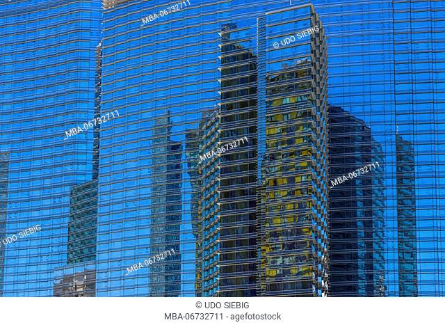 The USA, Nevada, Clark County, Las Vegas, west Harmon Avenue, city centre, high rise facade