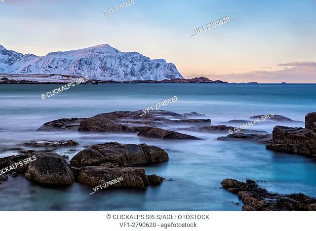 Sunset at Skagsanden beach in winter, Lofoten Islands, Norway