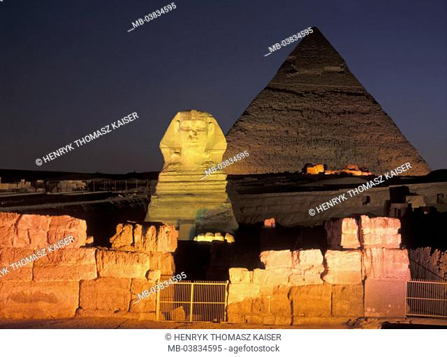 Egypt, Gizeh, pyramid, sphinx,  Illumination, evening,   Constructions, pyramid, fable natures, about 2500 v.Ch., Representation, King Chephren, 20 m high, 73