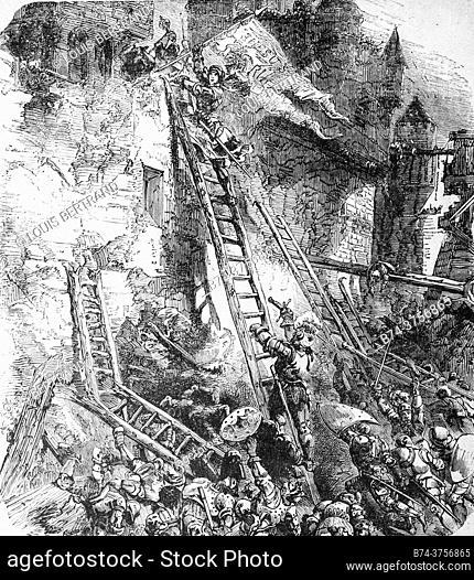 Joan of Arc storms the Bastille des Tournelles 1429° , edition lahure 1881