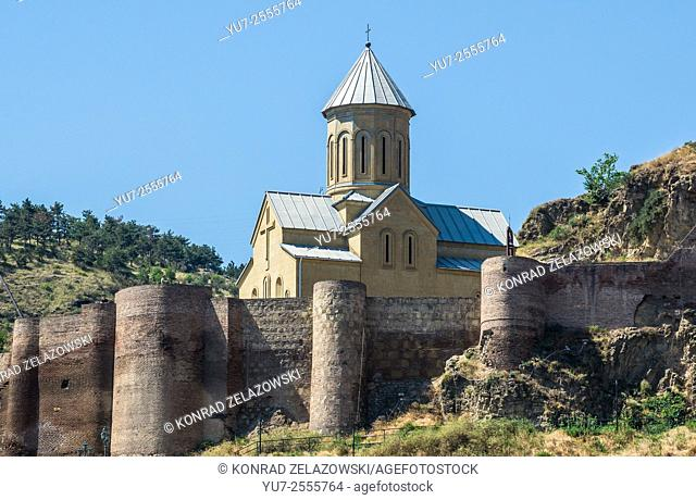 Narikala Fortress walls and St Nicholas church in Tbilisi, capital of Georgia