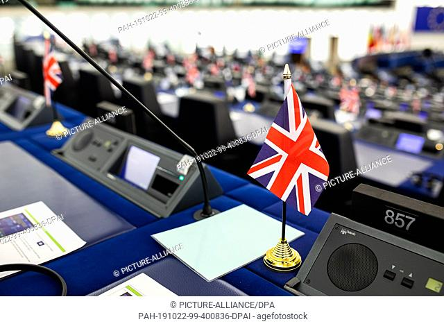 22 October 2019, France (France), Straßburg: A small flag of the United Kingdom stands on the tables of Members of the Brexit Party in the Chamber of Deputies...