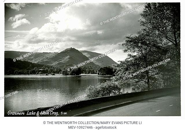 Scenic View, Grasmere, near Ambleside, Cumbria, England. Showing Helm Crag
