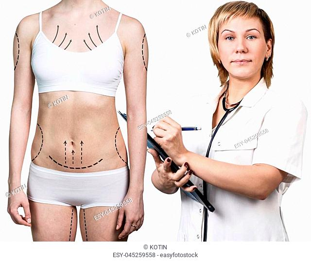 Young woman with plastic arrows with surgeon. Plastic surgery concept