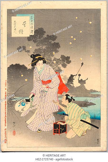 Chasing Fireflies, A Lady of the Tenmei Era (1781-1789).., 1894. Creator: Mizuno Toshikata (Japanese, 1866-1908)