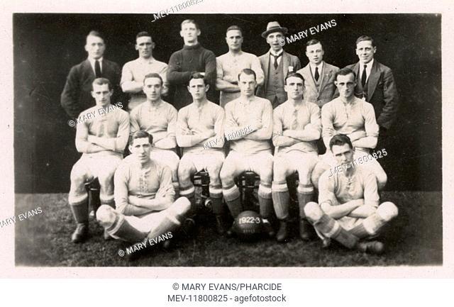 Cardiff City FC football team 1922. Back row: Nock, Evans, Davies, Smith, Stewart (Secretary), Turnbull, Clennell. Middle row: Grimshaw, Gill, Davies, Blair