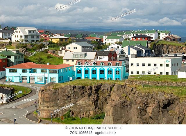 Dänemark, Daenemark, Färöer, Faeroeer, Färöer Inseln, Insel Streymoy, Thorshaven, Tórshavn, Stadtblick