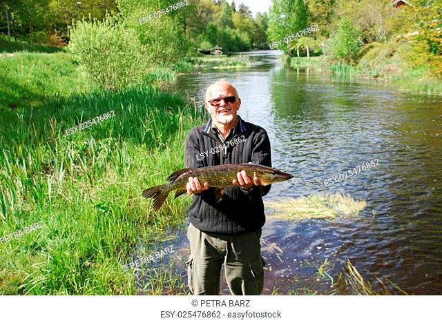Fishing in the river landscape in Sweden