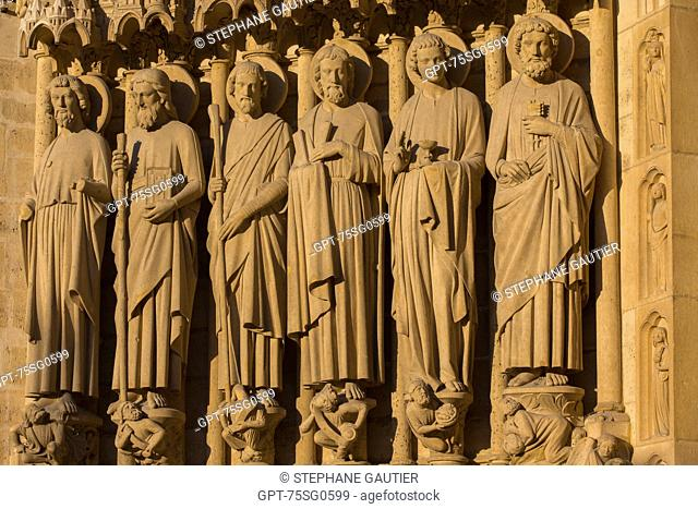 DETAIL SHOT FROM CATHEDRAL NOTRE-DAME DE PARIS, SITUATED ON THE ILE DE LA CITE IN THE HISTORIC CENTRE OF PARIS, THE CATHEDRAL IS THE MOST VISITED SITE IN FRANCE