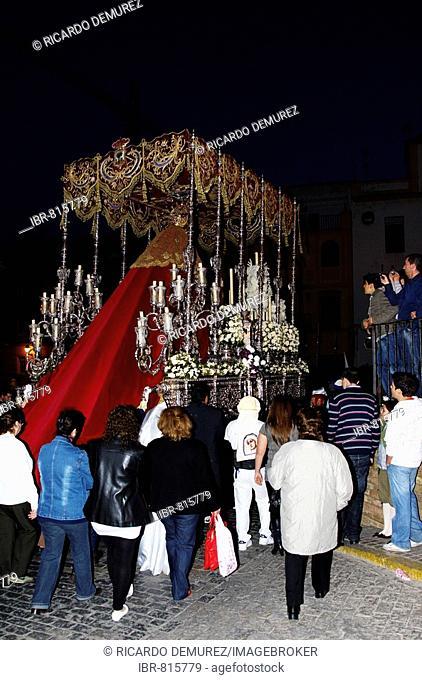 Canopied float with the Virgin Mary, Semana Santa procession, Holy Week, Huelva, Andalusia, Spain