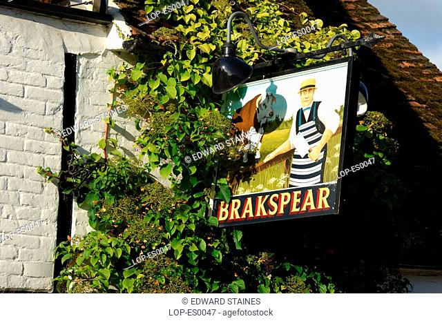 England, Buckinghamshire, Turville, English pub sign at Turville. Turville is Anglo Saxon meaning 'dry field'