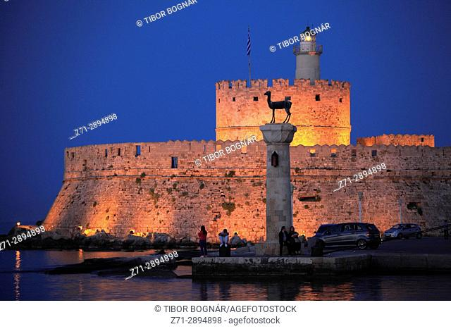 Greece, Dodecanese, Rhodes, Mandraki Harbour, Tower of St Nicholas,
