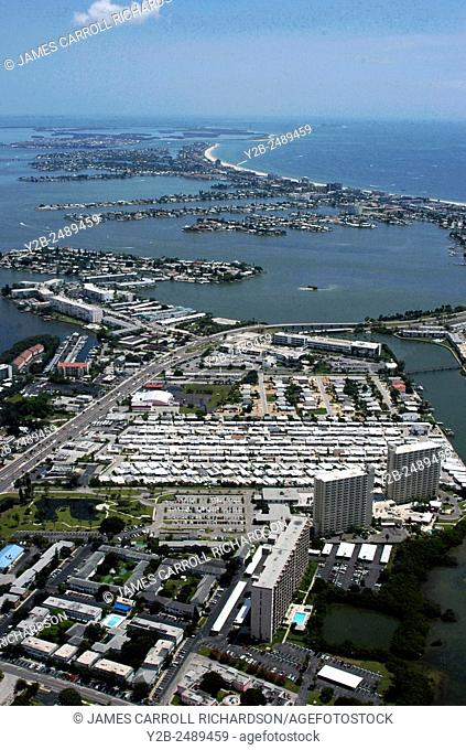 Aerial of South Pasadena area of St Petersburg near Tampa Florida
