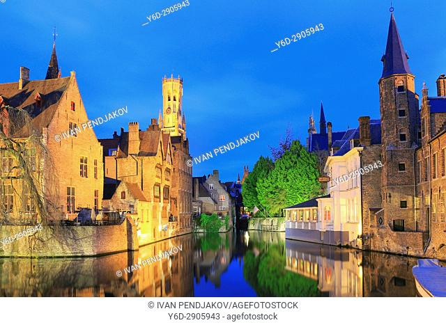 Rozenhoedkaai and the Belfry, Bruges, Flanders, Belgium