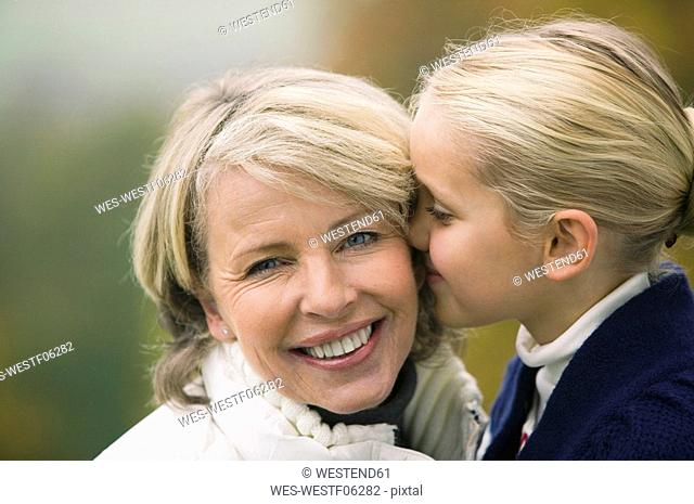 Germany, Baden-Württemberg, Swabian mountains, Grandmother and granddaughter, portrait