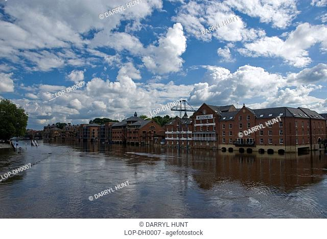 A view of York city when the River Ouse rose to flood parts of the river bank. The rivers Ouse and Foss meet in the city which often leads to the flood defences...