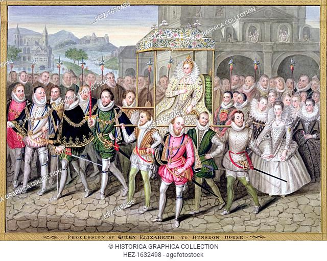 Queen Elizabeth I in procession with her courtiers, c1600-1603 (1825). After an oil painting attributed to Robert Peake (c1592-1667) at Sherborne Castle