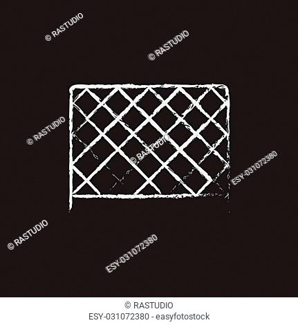 Sports nets hand drawn in chalk on a blackboard vector white icon isolated on a black background