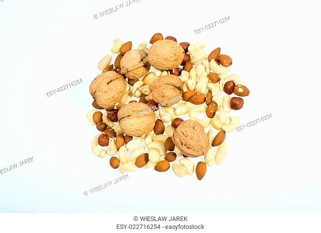 mixed nuts - hazelnuts, walnuts, cashews, pine nuts