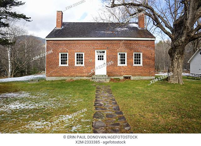 Brickett Place on Evans Notch Road in Stow, Maine USA. Thisi is a 19th century historic brick farmhouse built by John Brickett and is listed on the National...