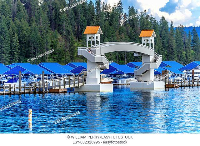 Walking Bridge Blue Covers Boardwalk Marina Piers Boats Reflection Lake Coeur d' Alene Idaho