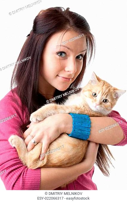 Young woman with a kitten