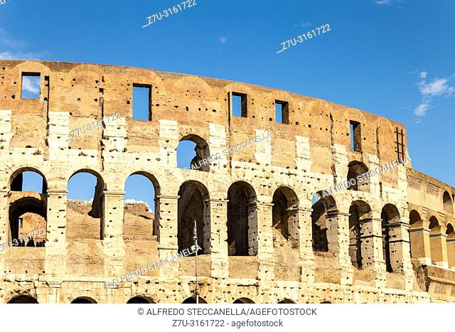 View of the Colosseum or Coliseum, also known as the Flavian Amphitheatre