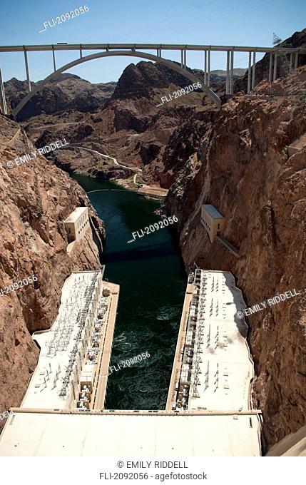 Hoover dam and new highway bridge, boulder city nevada usa