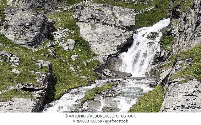 Waterfall over River De La Lenta. Vanoise National Park. Lanslebourg-Mont-Cenis. Saint-Jean-de-Maurienne. Savoie. Rhone-alpes. France