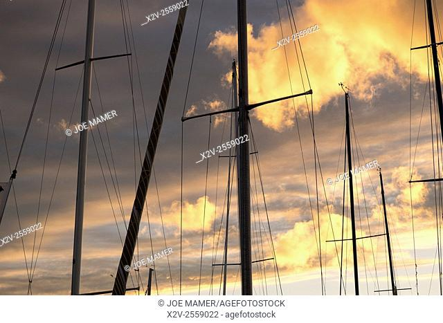 Sailboat masts silhouetted against sunset
