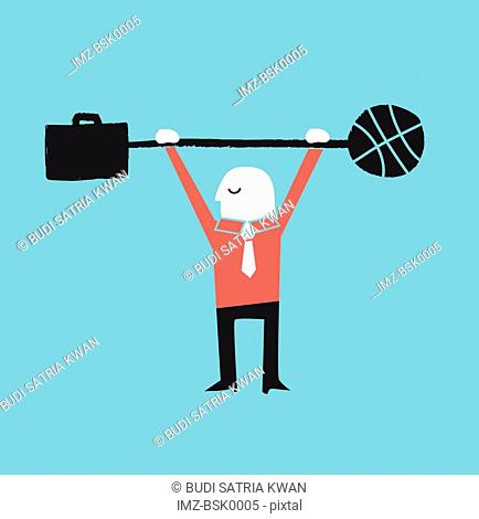 A man holding a barbell with a basketball on one end and a briefcase on the other end