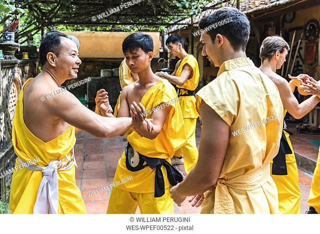 Vietnam, Hanoi, men exercising kung fu, european man learning kung fu