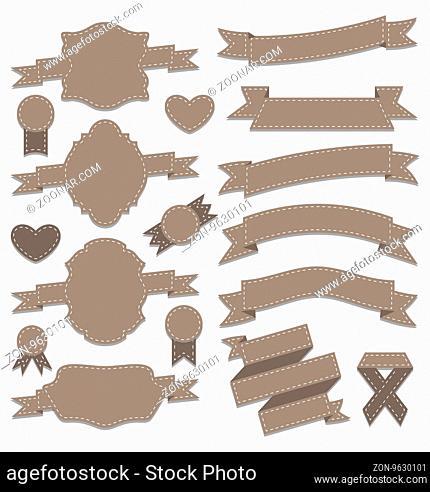 Illustration group leather ribbons, vintage labels, geometric emblems - vector