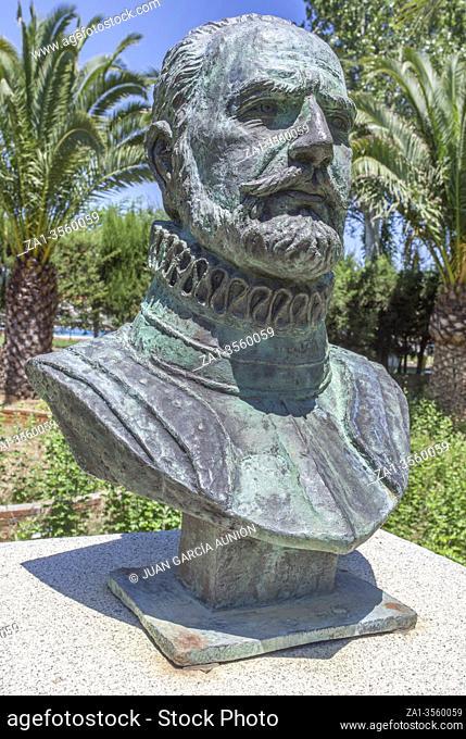 Sta Cruz de la Sierra, Spain - June 26th 2020: Nuflo or Nuno de Chaves bust, Spanish conquistador and founder of Santa Cruz de la Sierra, Bolivia