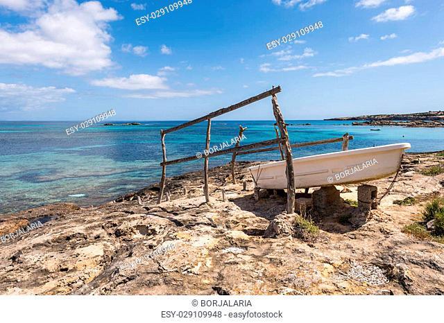 Es Pujols port in Formentera island fiber boat railways