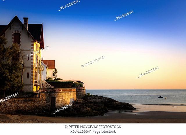 Evening sun on a house on the beach at Conche de Saint Palais near Royan