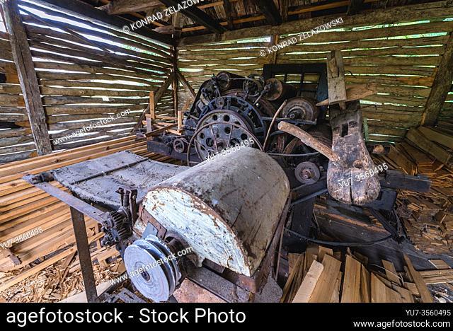 Antique carpenter machine in Oas Village Museum located in Negresti-Oas town in the county of Satu Mare in northwestern Romania