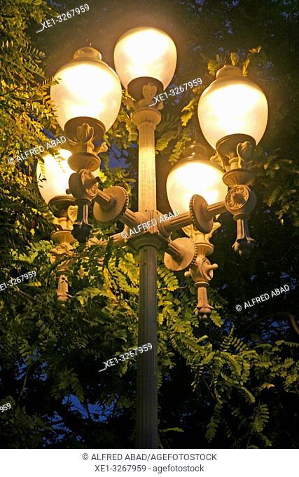 Modernist street lamp, Moll de la Fusta, Barcelona, Catalonia, Spain