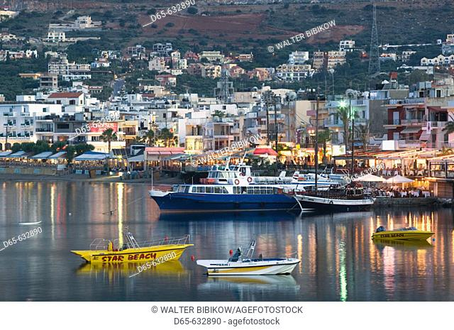 Resort town view. Dusk. Hersonissos. Iraklio Province, Crete. Greece