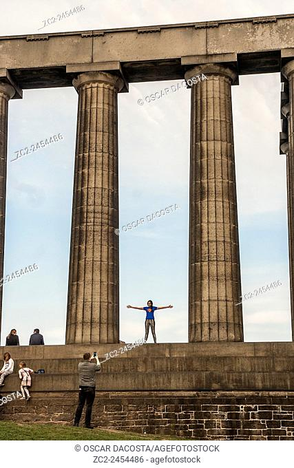 Calton Hill, Scottish National Monument, Edinburgh, scotland, uk, europe