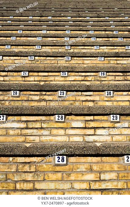 Numbered seats at a bullring. Algeciras, Cadiz, Andalusia, Spain