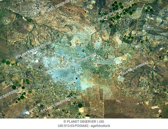 Colour satellite image of Lusaka, Zambia. Image taken on August 26, 2014 with Landsat 8 data