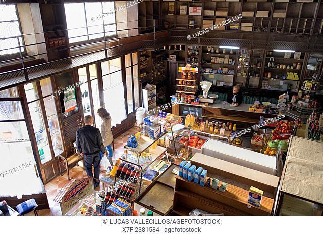 Alimentaciò shop,grocery in plaça de Baix, Santa Pau,Garrotxa Natural Park,Girona province. Catalonia. Spain
