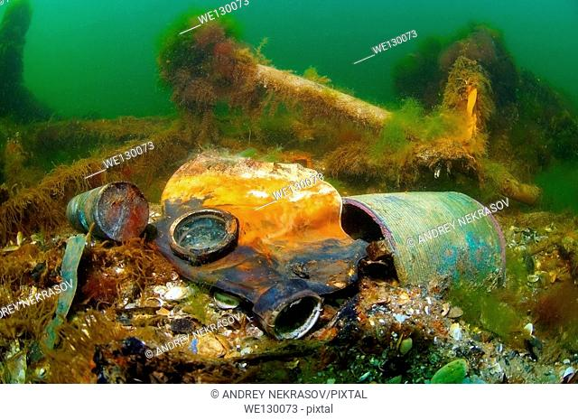 "Underwater wreck - mine trawler """"Collective farmer"""", submerged on the Black sea in Ukraine"