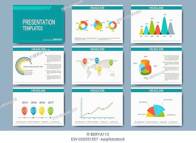 Big set of vector templates for presentation slides. Modern business design with graph and charts