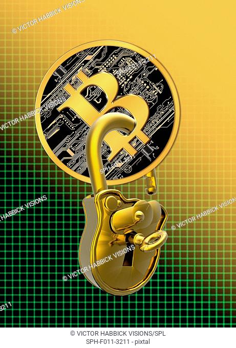 Bitcoin with a padlock through it, computer illustration