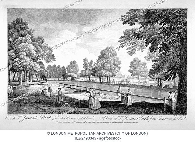 View of St James's Park from Rosamond's Pond, Westminster, London, 1745