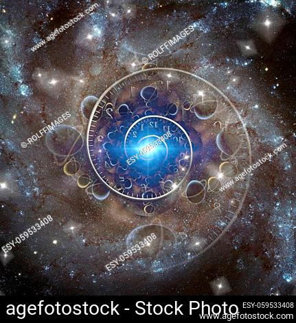 Time spiral and bright light in space. 3D rendering